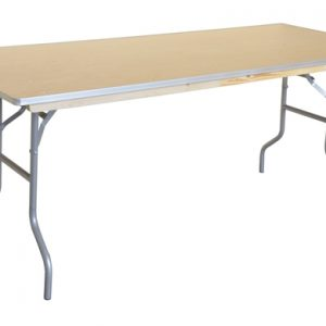 Collapsible table with metal legs and wooden top
